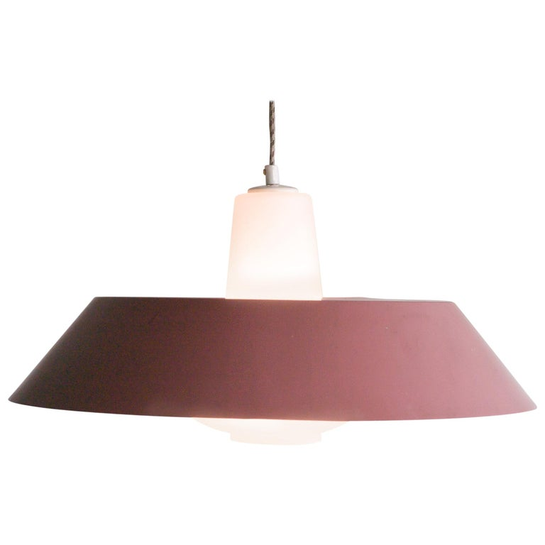 Large Frosted Glass Pendant by Louis Kalff For Sale