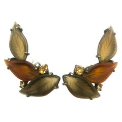 Large frosted glass 'three leaf' earrings, Elsa Schiaparelli, USA, c.1954