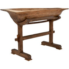 Large Fruitwood Trog or Dough Bowl on Oak Stand