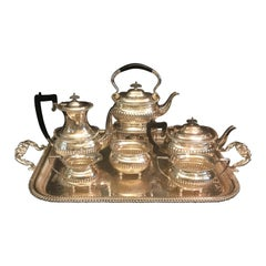Large Full English Service Heavy Silver Plate Tea and Coffee Set