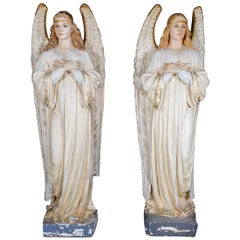 Life Size Polychrome Cast Plaster Angel Statues by Daprato