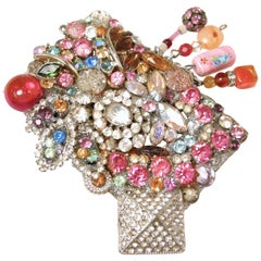 Large, Fun Vintage Multi-Color Crystal Brooch