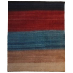 Large Red, Blue and Neutral Striped Contemporary Gabbeh Persian Wool Rug
