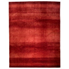 Large Cherry and Strawberry Red Contemporary Gabbeh Persian Wool Rug