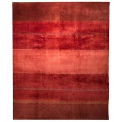Large Red Striped Contemporary Gabbeh Persian Wool Rug