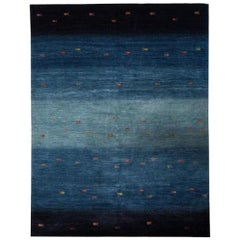Large Deep Blue Contemporary Gabbeh Persian Wool Rug