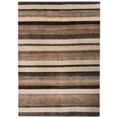 Large Brown and Cream Striped Contemporary Gabbeh Persian Wool Rug