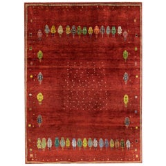 Large Red Contemporary Tribal Pattern Gabbeh Persian Wool Rug