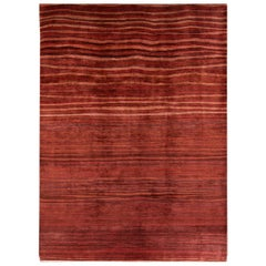 Large Deep Red Contemporary Gabbeh Persian Wool Rug