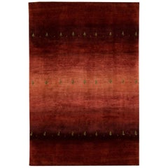 Large Contemporary Sunset Red and Orange Gabbeh Persian Wool Rug