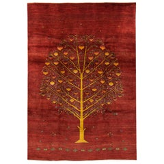 Large Contemporary Red Pomegranate Tree Gabbeh Persian Wool Rug