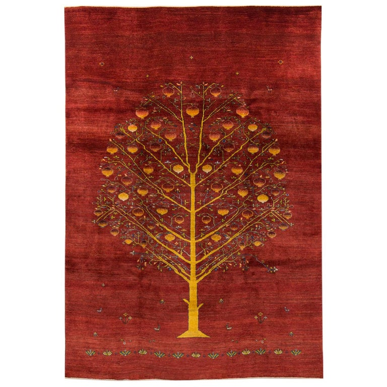Large Contemporary Red Pomegranate Tree Gabbeh Persian ... Persian Pomegranate Trees For Sale
