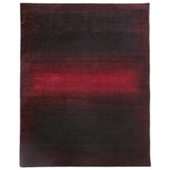 Large Burgundy and Dark Red Contemporary Gabbeh Persian Wool Rug