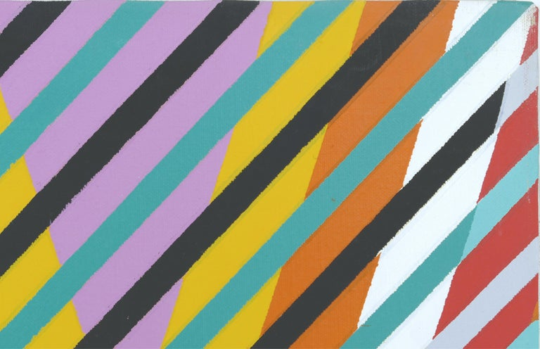 Modern Large Gabe Silverman 1980s Abstract Op Art Painting For Sale