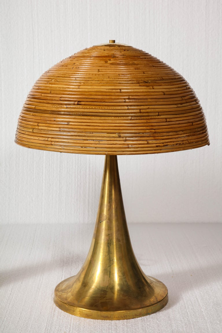 Italian Large Gabriella Crespi Style Bamboo Pair of Table Lamps with Brass Bases For Sale
