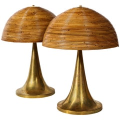 Large Gabriella Crespi Style Bamboo Pair of Table Lamps with Brass Bases
