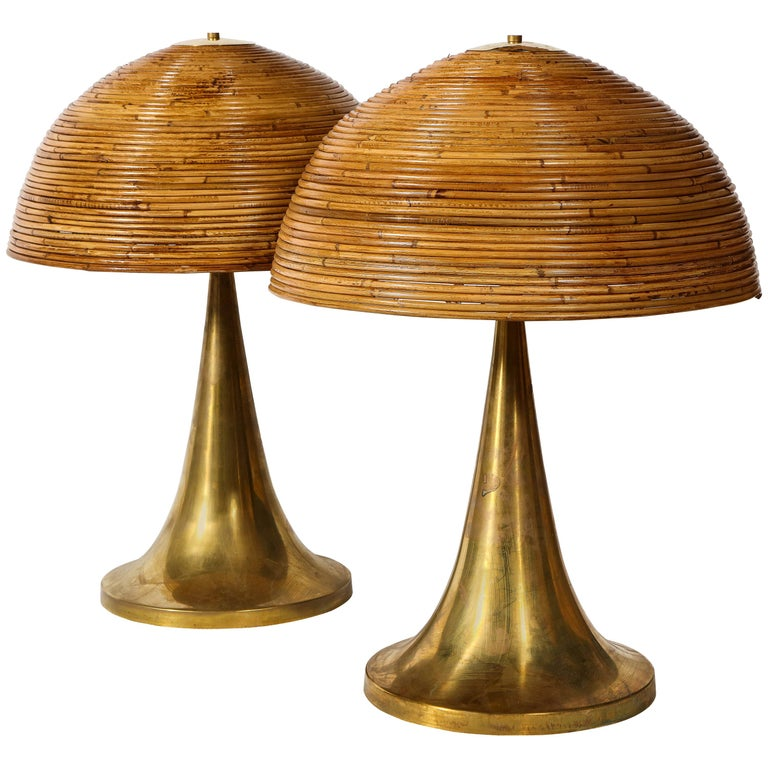 Large Gabriella Crespi Style Bamboo Pair of Table Lamps with Brass Bases For Sale
