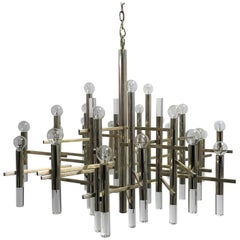 Large Gaetano Sciolari Chandelier in Chrome and Lucite , 1960s
