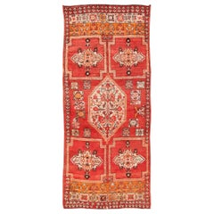 Large Gallery Runner Moroccan Rug Tribal Designed in Red, Ivory and Orange