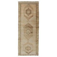 Large Gallery Runner Turkish Rug in Earth Tones & Light Brown in Medallions