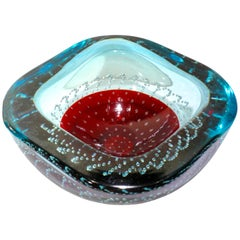 Large Galliano Ferro Red and Blue Controlled Bubbles Murano Glass Bowl
