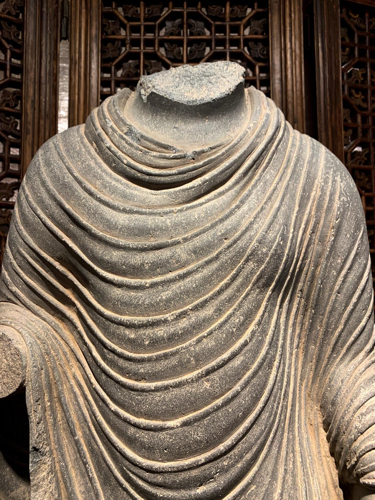 Large Gandharan Standing Buddha Torso, Carved Gray Schist, 2nd-3rd Century For Sale 3