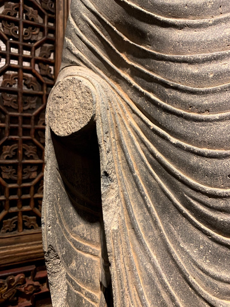 Large Gandharan Standing Buddha Torso, Carved Gray Schist, 2nd-3rd Century For Sale 7