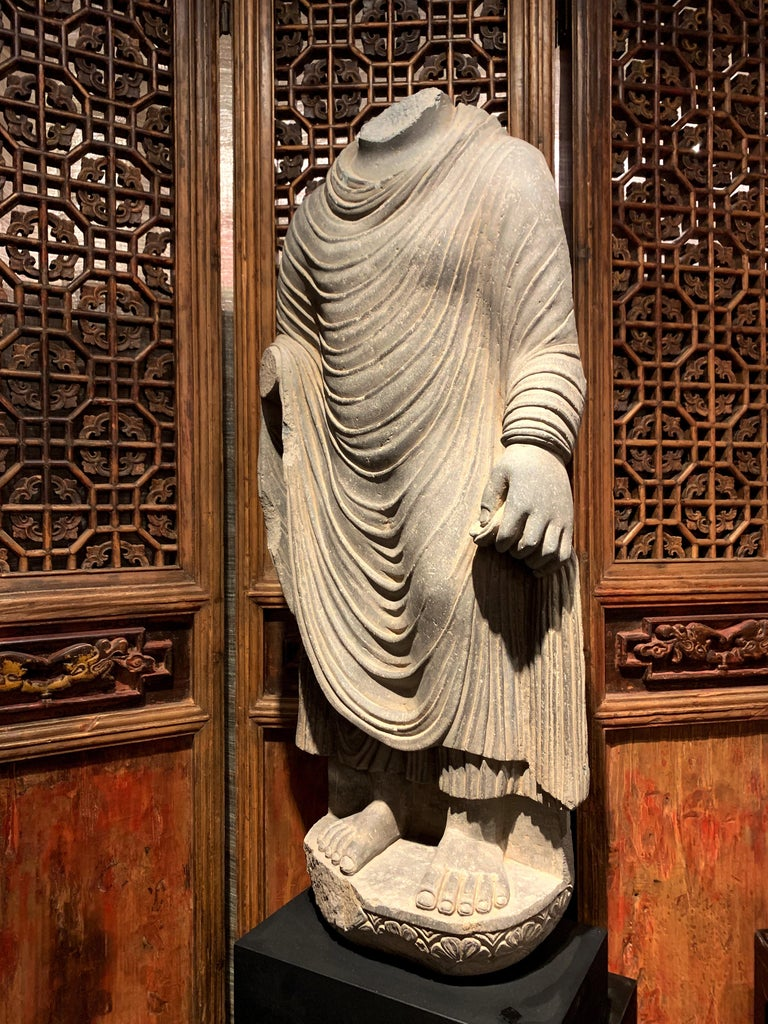 Hand-Carved Large Gandharan Standing Buddha Torso, Carved Gray Schist, 2nd-3rd Century For Sale