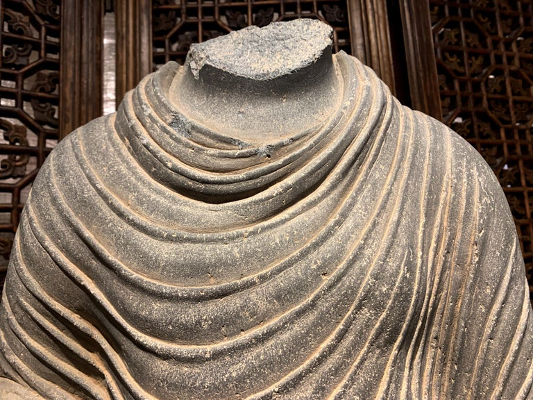Large Gandharan Standing Buddha Torso, Carved Gray Schist, 2nd-3rd Century In Good Condition For Sale In Austin, TX