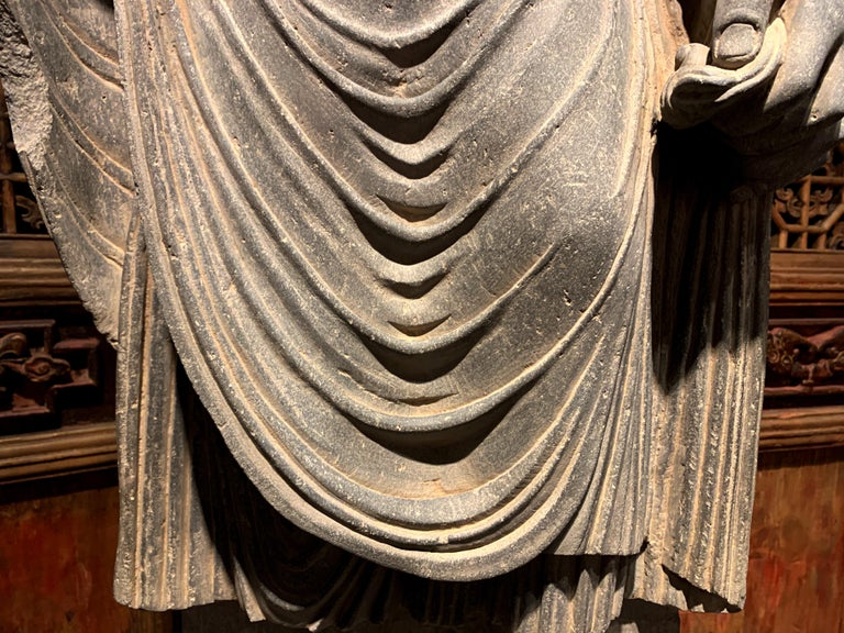 Large Gandharan Standing Buddha Torso, Carved Gray Schist, 2nd-3rd Century For Sale 1