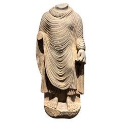 Large Gandharan Standing Buddha Torso, Carved Gray Schist, 2nd-3rd Century