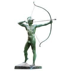 Large Garden Bronze Statue 'The Archer' Ernst Moritz Geyger, Berlin, circa 1910