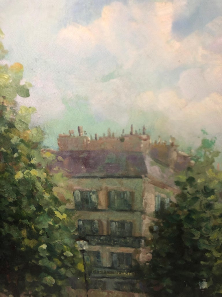 Large Gargantuan Delightful Original Painting of French Street Scene For Sale 12