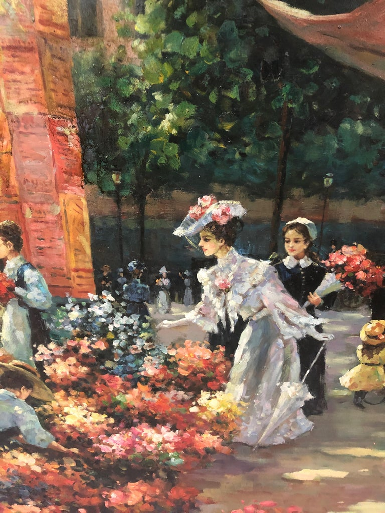 Beautifully rendered and gigantic oil on canvas of a sun dappled turn of the century French street scene with gorgeous ladies shopping for flowers, children with their nannies, a horse drawn carraige, cafe sign, etc. The more you look the more