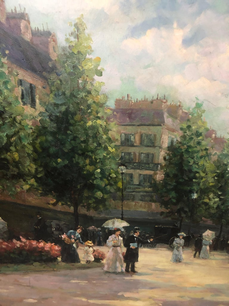Large Gargantuan Delightful Original Painting of French Street Scene For Sale 3