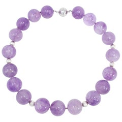 Large Genuine Amethyst 20mm Bead Necklace with Sterling Silver Beads, 18.5""