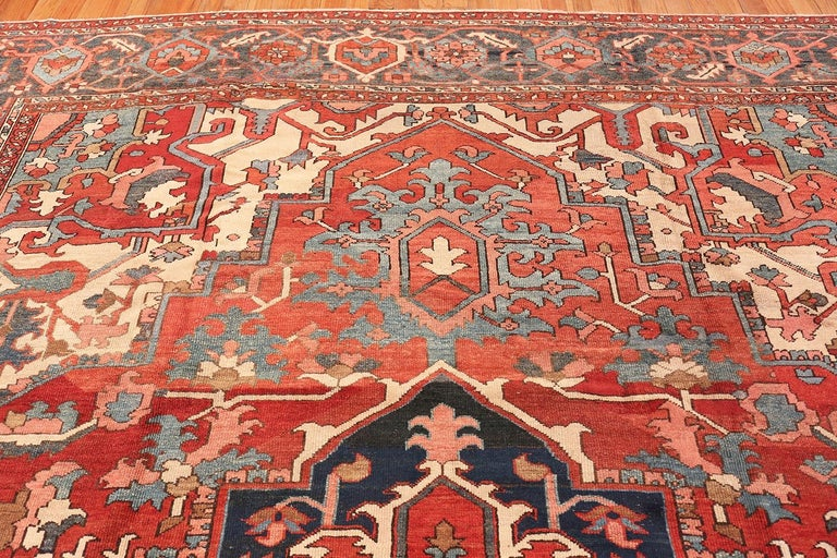 Hand-Knotted Large Geometric Antique Persian Heriz Serapi Rug For Sale