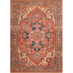 Large Geometric Antique Persian Heriz Serapi Rug