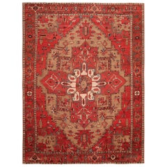 Large Geometric Antique Persian Serapi Rug. Size: 11 ft 6 in x 15 ft