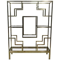 Large Geometric Brass Étagère Attributed to Romeo Rega