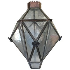 Large Geometric Bronze and Copper Lantern in the Style of Lyman Drake
