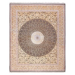 """Large Geometric Silk and Wool Vintage Isfahan Persian Rug. Size: 13' 3"""" x 16' 7"""""""