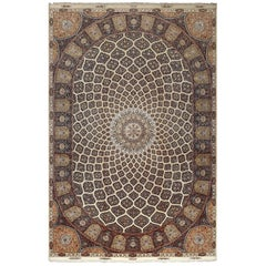 Large Geometric Vintage Tabriz Persian Rug. Size: 13 ft x 19 ft 4 in