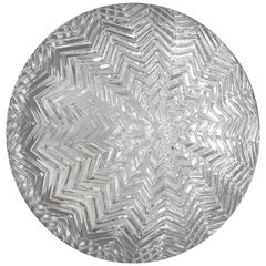 One of... Large Geometric Zigzag Glass Ceiling or Wall Light Flush Mount 1960s