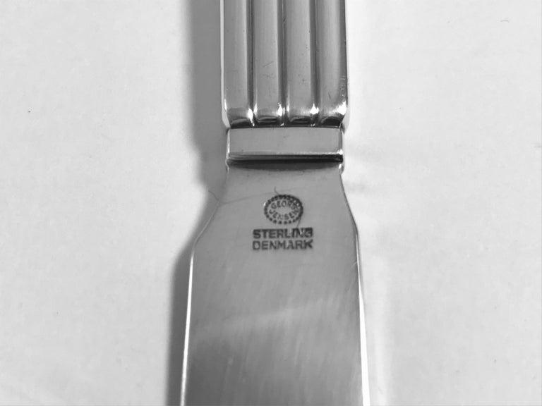 Pressed Large Georg Jensen Bernadotte Silverware Service For Sale