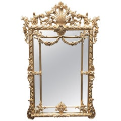 Large George II Gilt Pier Mirror, Carved Wood, 20th Century