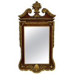 Large George II Style Walnut and Parcel-Gilt Mirror