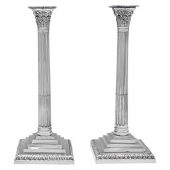 Large George III Antique Sterling Silver Pair of Corinthian Candlesticks, 1765
