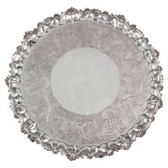 Large Georgian Silver Salver, London 1828 by William Eley II