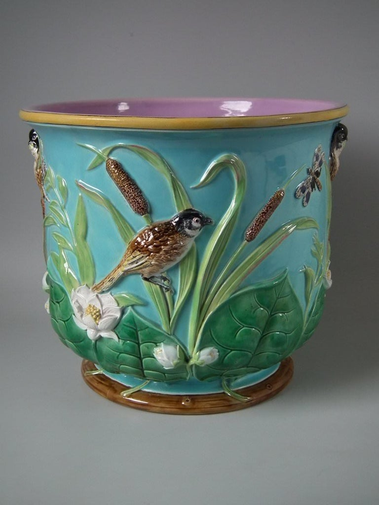 Late 19th Century Large George Jones Majolica Bird and Pond Lily Jardinière For Sale